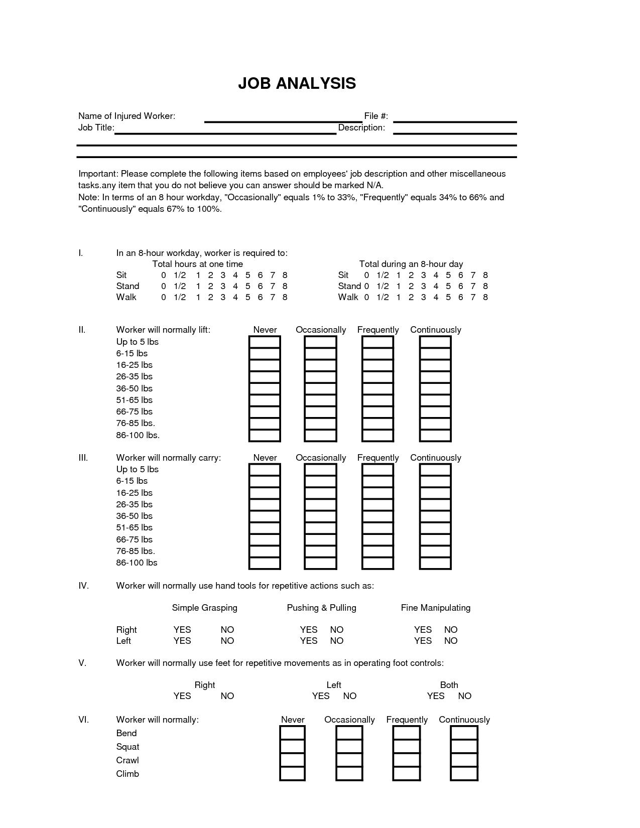 Job Analysis Forms Job analysis, Analysis, Worksheet