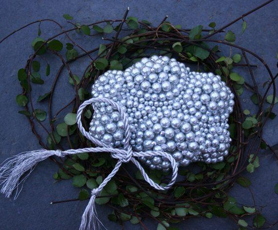 Wedding Ring Bearer - Pearl Cloud - Wedding Ring Holder - Fall Winter Weddings - Silver Wedding - Engagement Ring Bearer