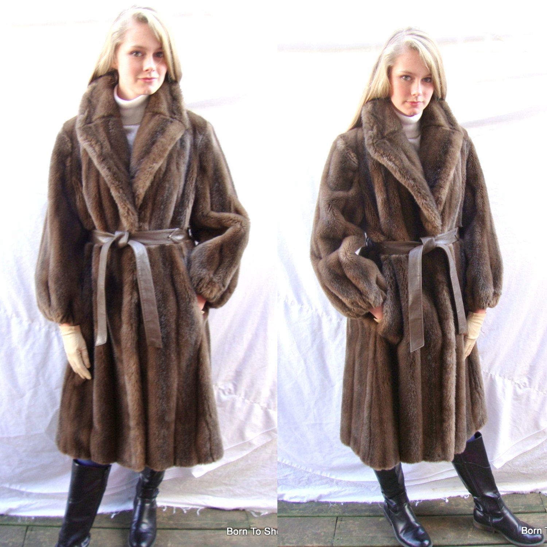 vintage faux fur coat, long fur coat,Country Pacer, brown faux ...