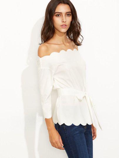 aeefae539 Shop White Belted Scallop Trim Off The Shoulder Top online. SheIn ...