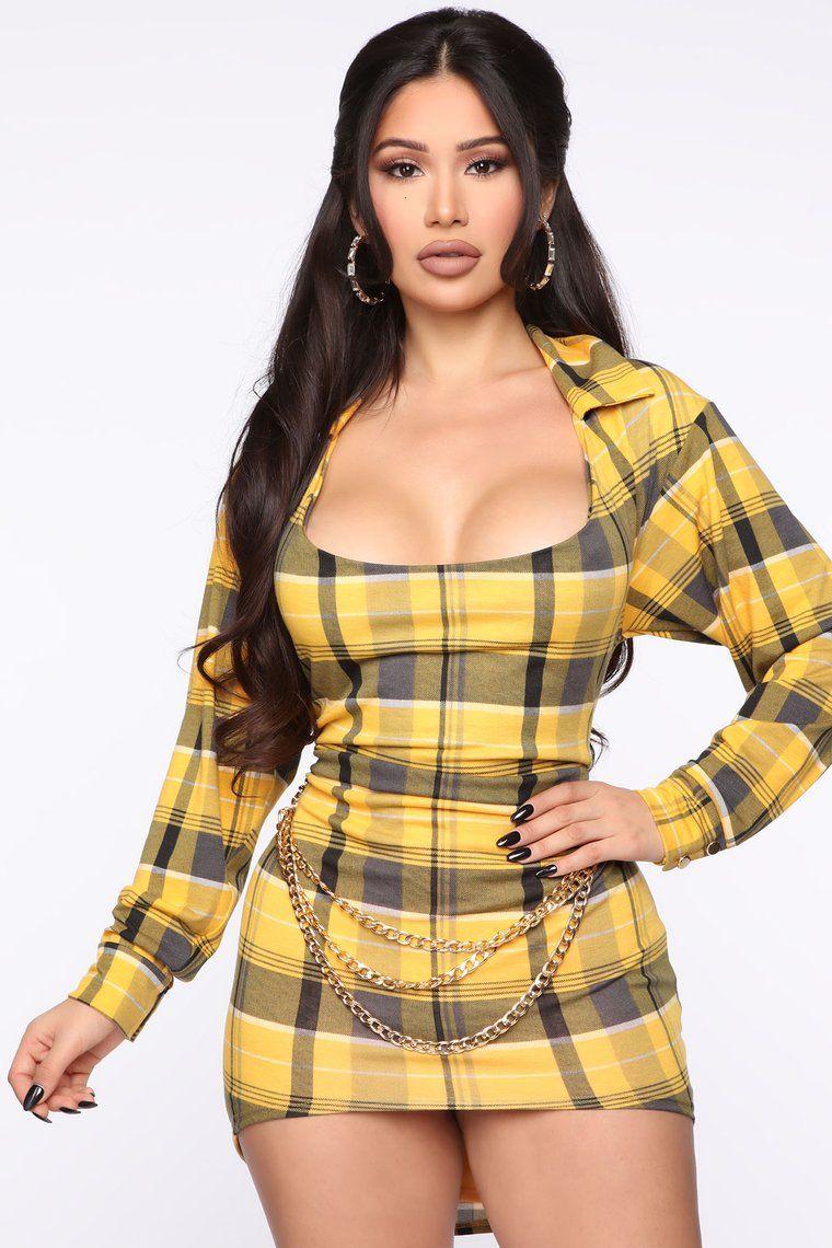 So Posh Plaid Mini Dress Mustard Mini dress, Fashion