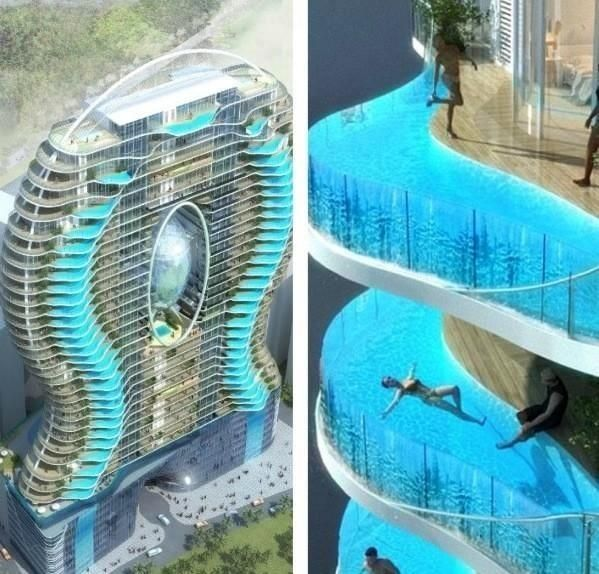 Zwembalkons In Mumbai Each Room Has Its Own Swimming Pool What A Cool Building A Must Visit Balcony Pool Cool Pools Amazing Buildings