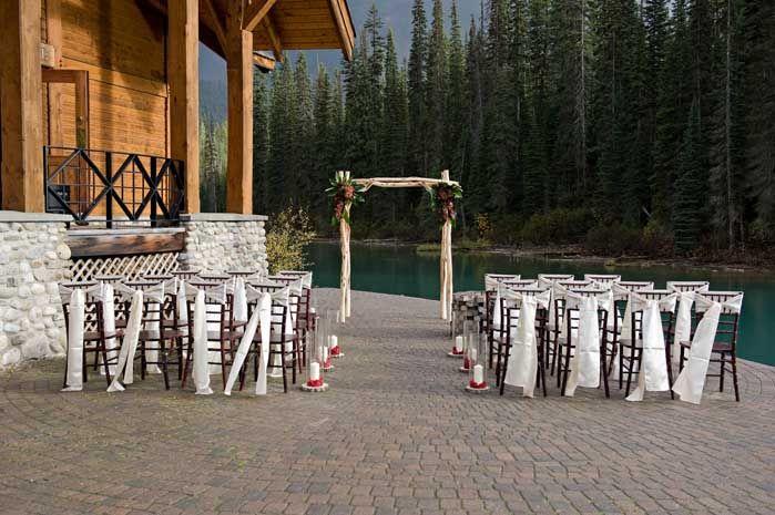 Emerald Lake Lodge wedding decor and custom arch by Emerald Lake