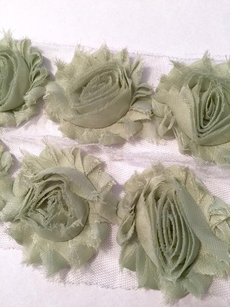 """1//2 yard dusty rose 2.5/"""" shabby chiffon rose trim flowers DIY headband"""