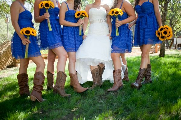 Rustic Blue And Yellow Wedding Ideas Cornflower Blue Bridesmaid