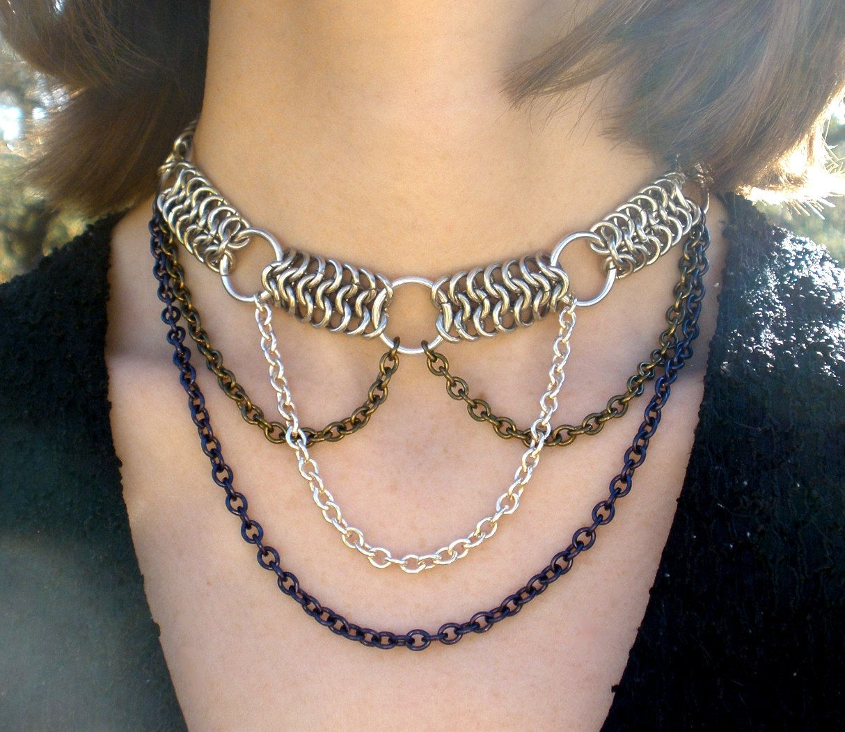 Navy Blue And Silver Necklace