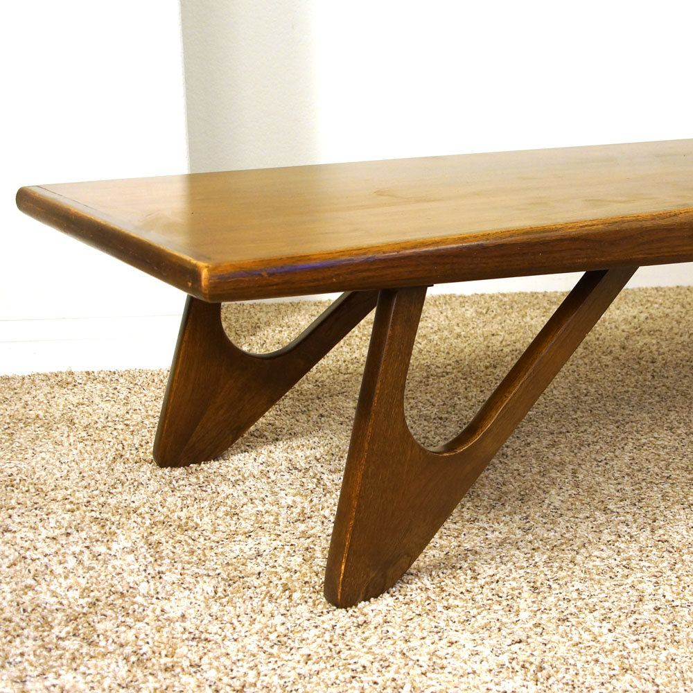 Mid Century Kroehler Coffee Table Vintage 1960s Solid Wood Surfboard Mcm Danish Modern