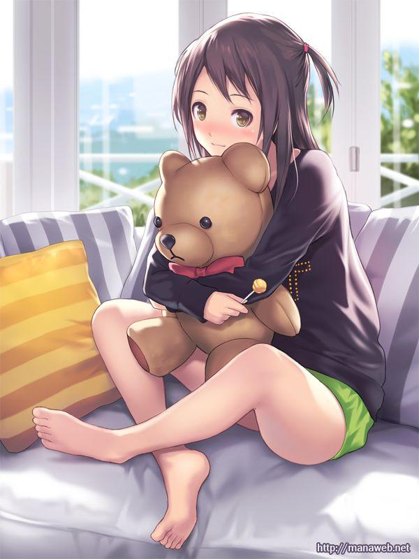 Anime Girl Holding Her Teddy Bear Oc Material Manga Anime