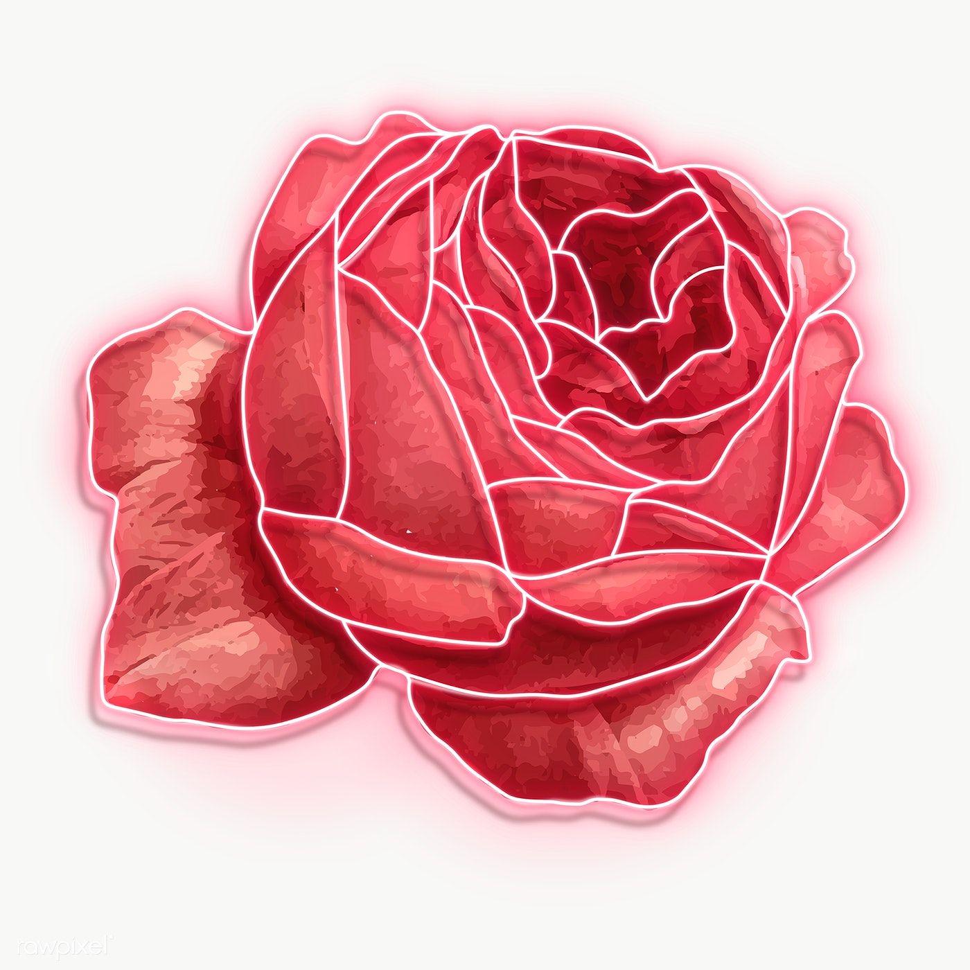 Download premium png of Red neon rose transparent png