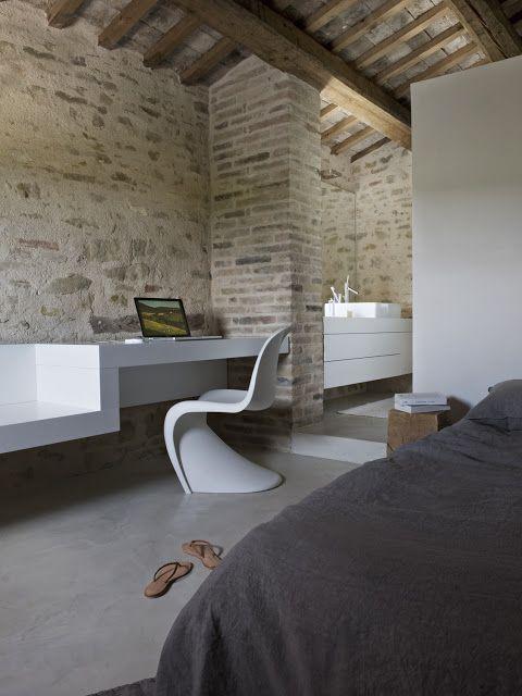 Il rustico diventa moderno interni pinterest maison for Case interni bianchi