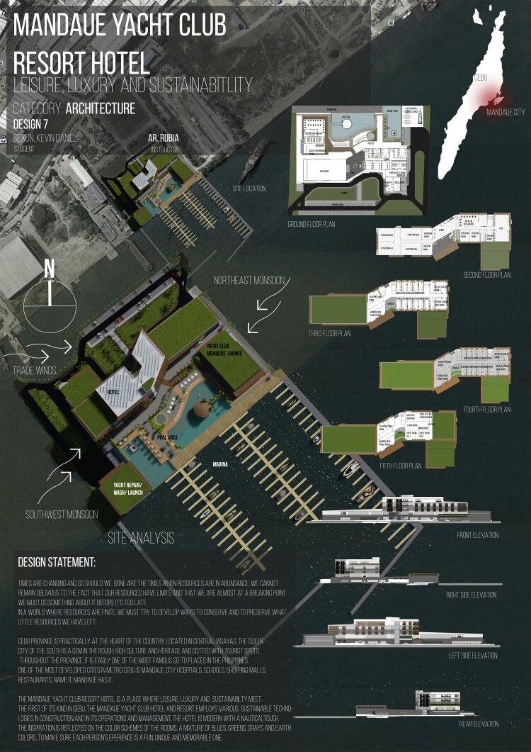 Architectural Presentation Board For A Yacht Club Hotel