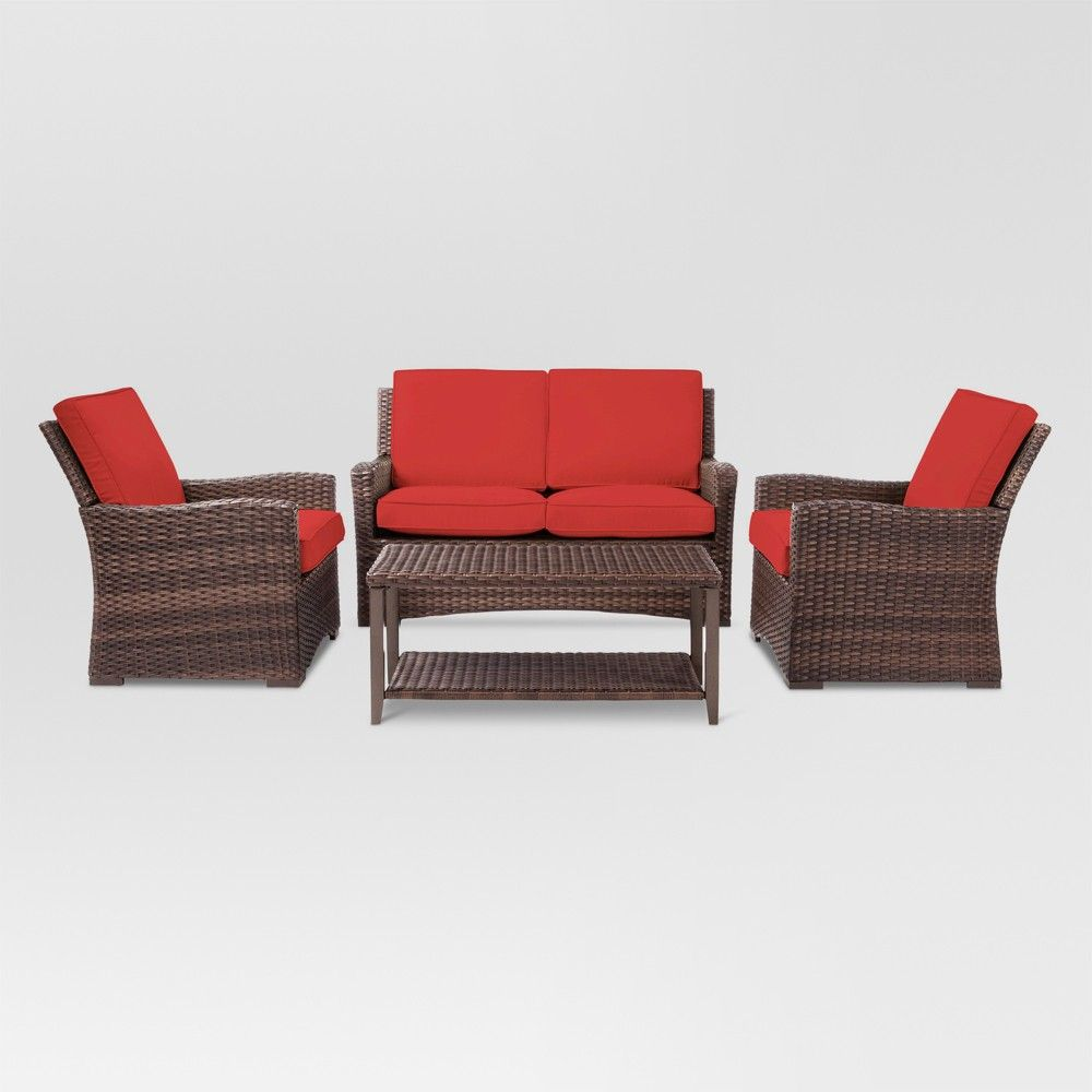 7a1ef3f49c5 Halsted 4pc Wicker Patio Conversation Set - Red - Threshold in 2019 ...