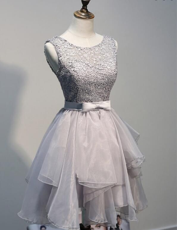 1db44ada217 Silver Grey Layered Tulle Skirt Cocktail Dress