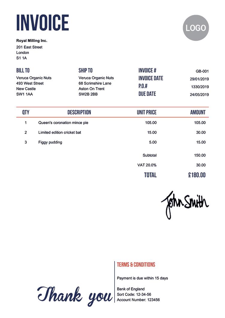 Invoice Template Uk Neat Invoice Template Printable Invoice Quote Estimate