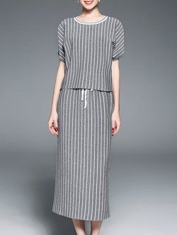Gray Simple Two Piece Stripes Maxi Skirt