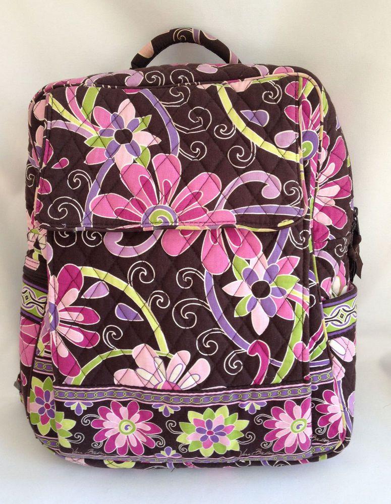 Vera Bradley Large Backpack Purple Punch Retired Brown Purse Diaper Bag  Tablet  VeraBradley  BackpackStyle b102d3995a