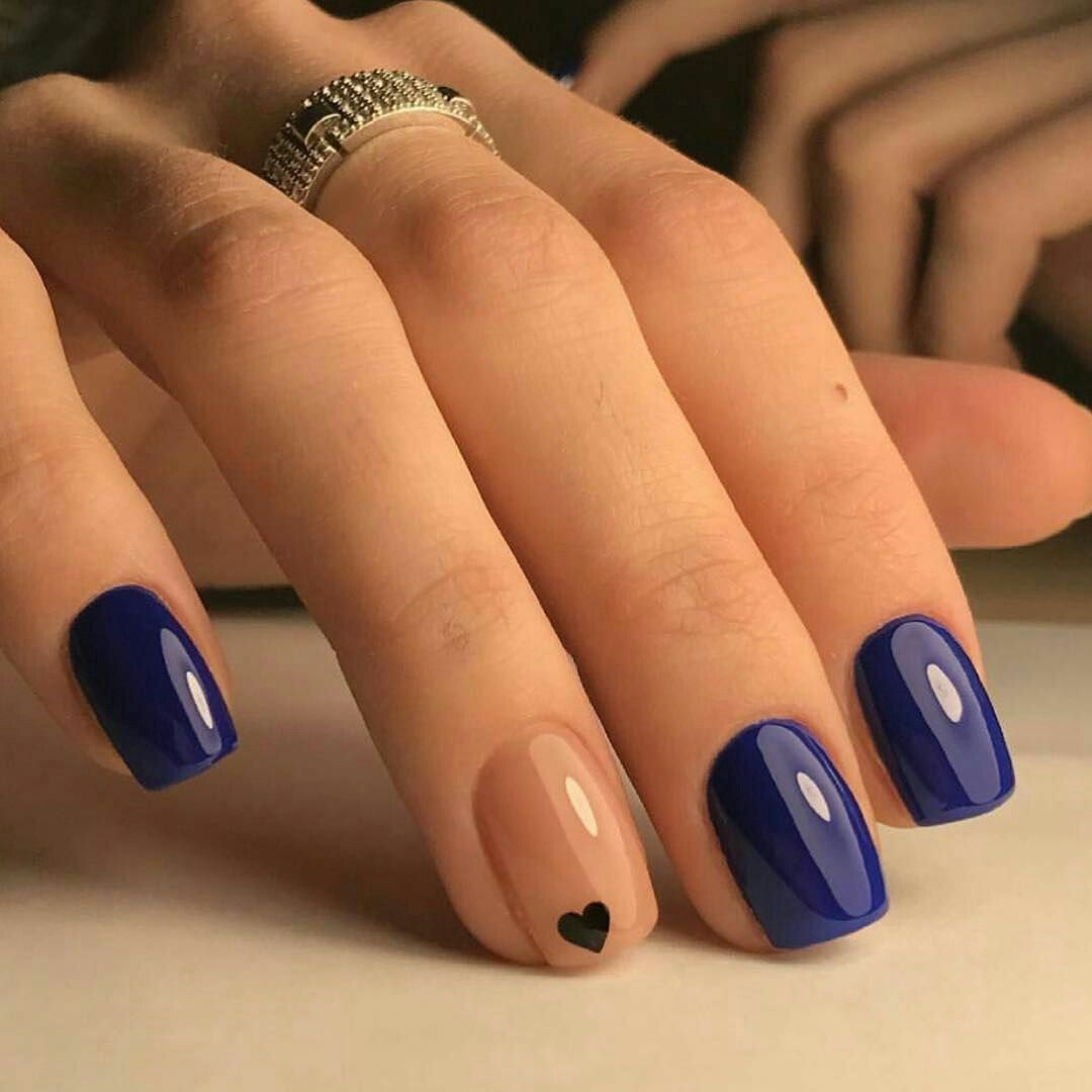 Navy blue nail arts