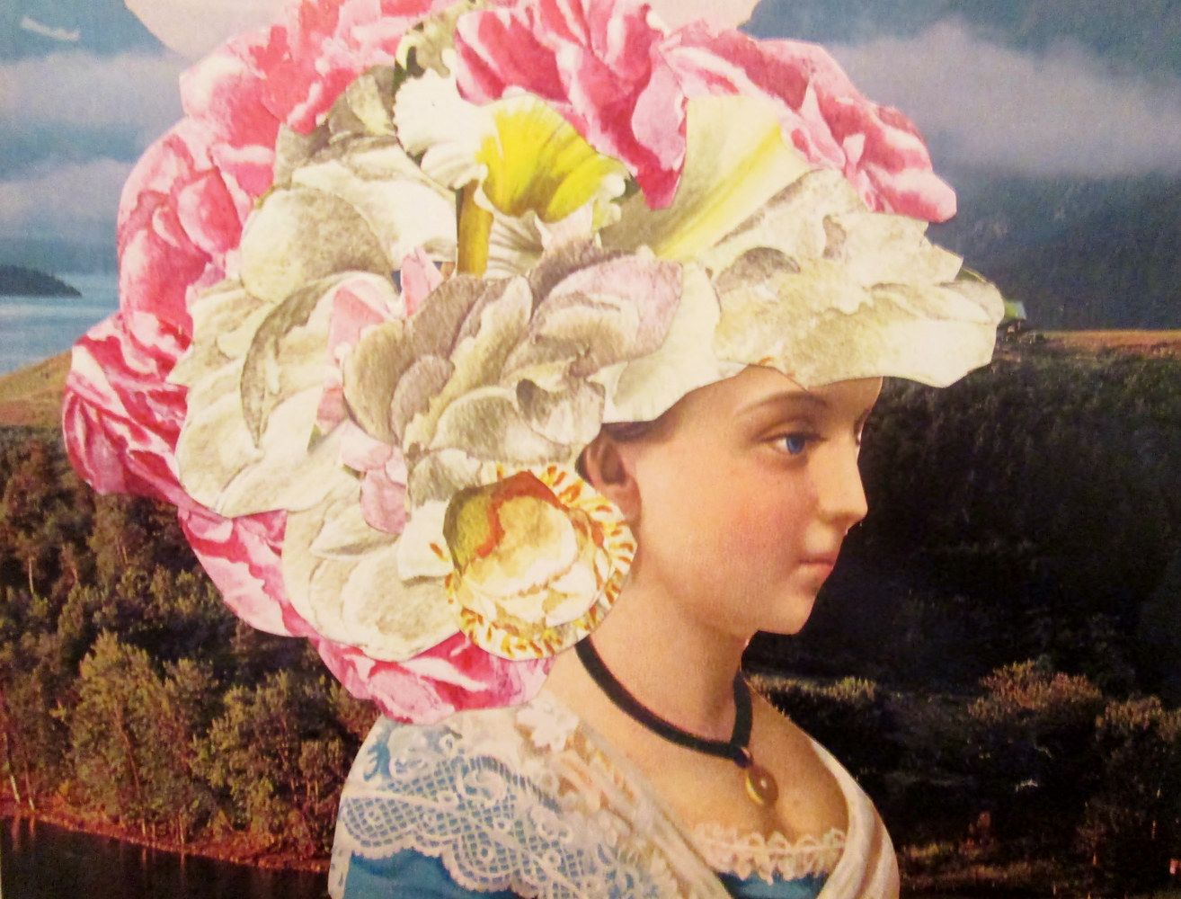 The Lady With Flowers For Hair My Collages Pinterest Collage