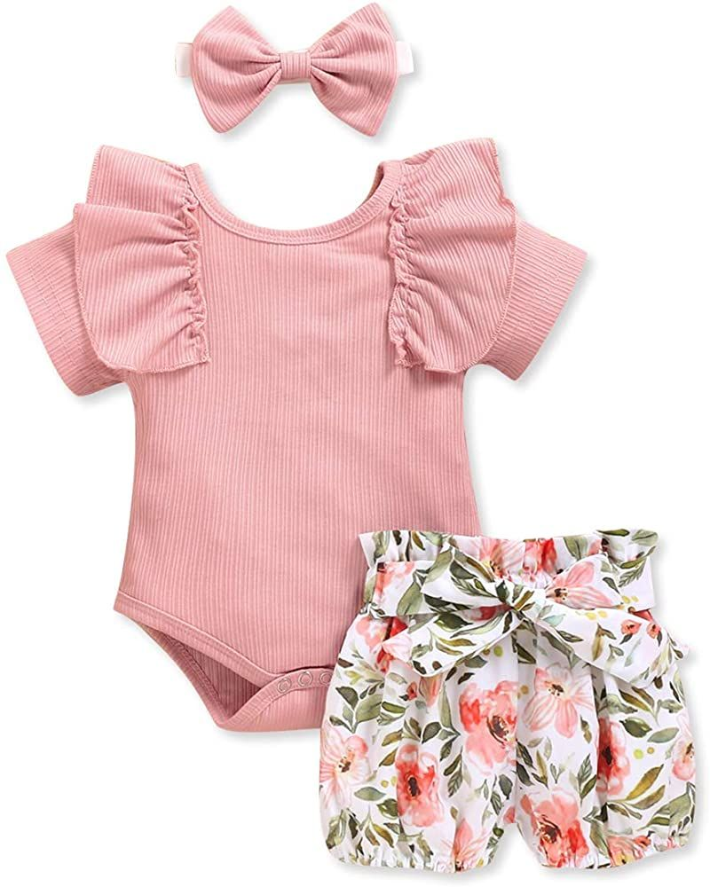 Details about  /3PCS Toddler Baby Girls Long Sleeve Ruffles Romper Bodysuit+Floral Pants Outfits