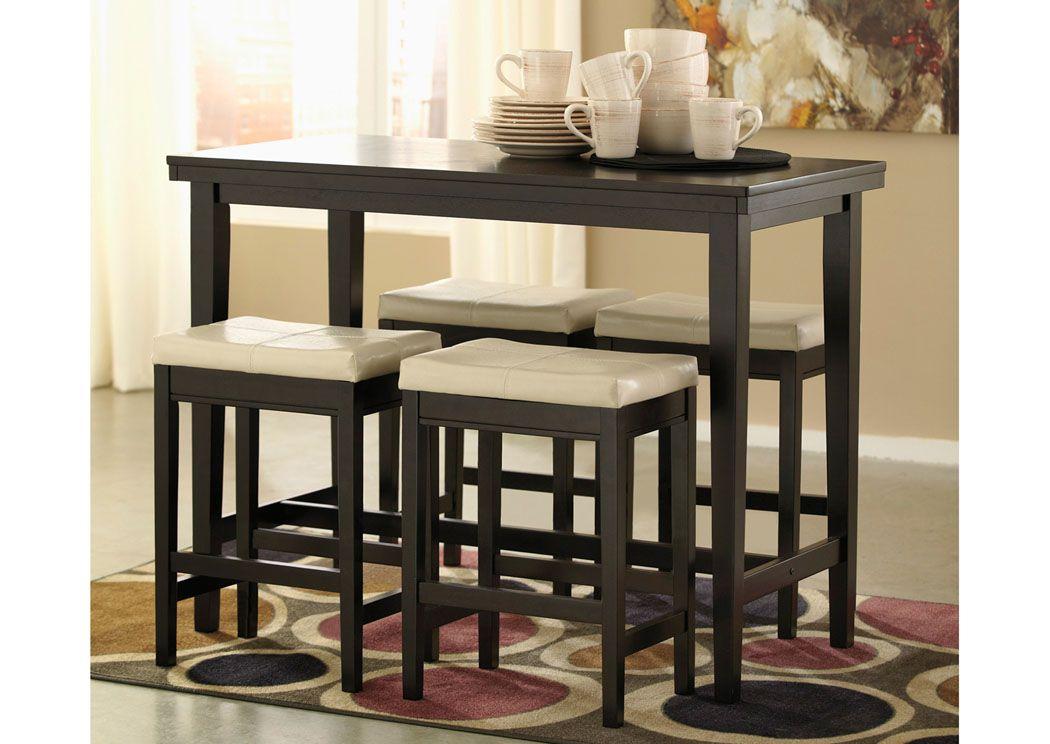 Kimonte Rectangular Counter Height Table W 4 Ivory Barstools