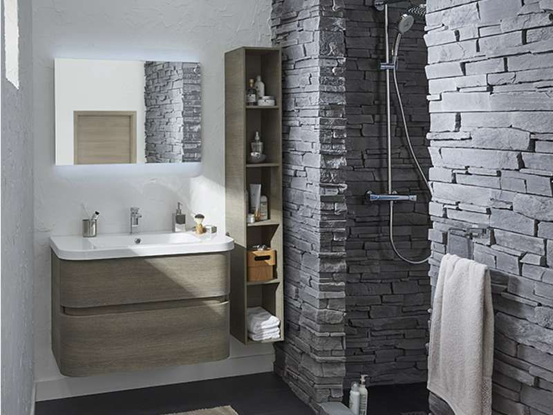 salle de bains pierre mur zen castorama voluto salle de bains - salle de bain ardoise