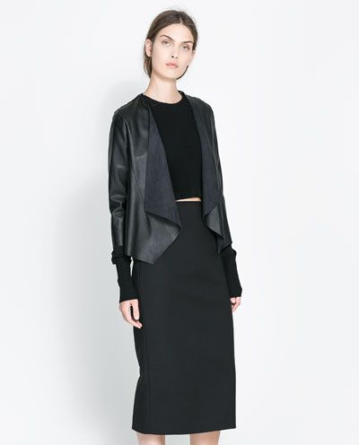 FAUX LEATHER AND GUIPURE LACE JACKET