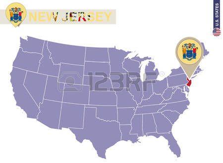 Estado de Nueva Jersey el EE.UU. mapa. Bandera de Nueva Jersey y el ...