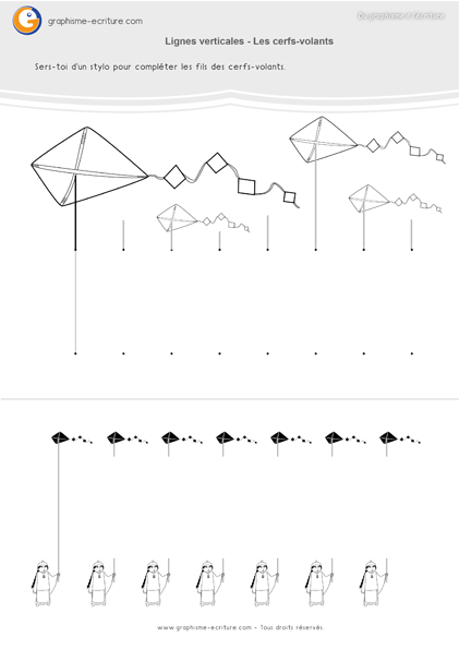 Célèbre Fiche de Graphisme GS Lignes Verticales - Lignes et cerfs-volants  ER54