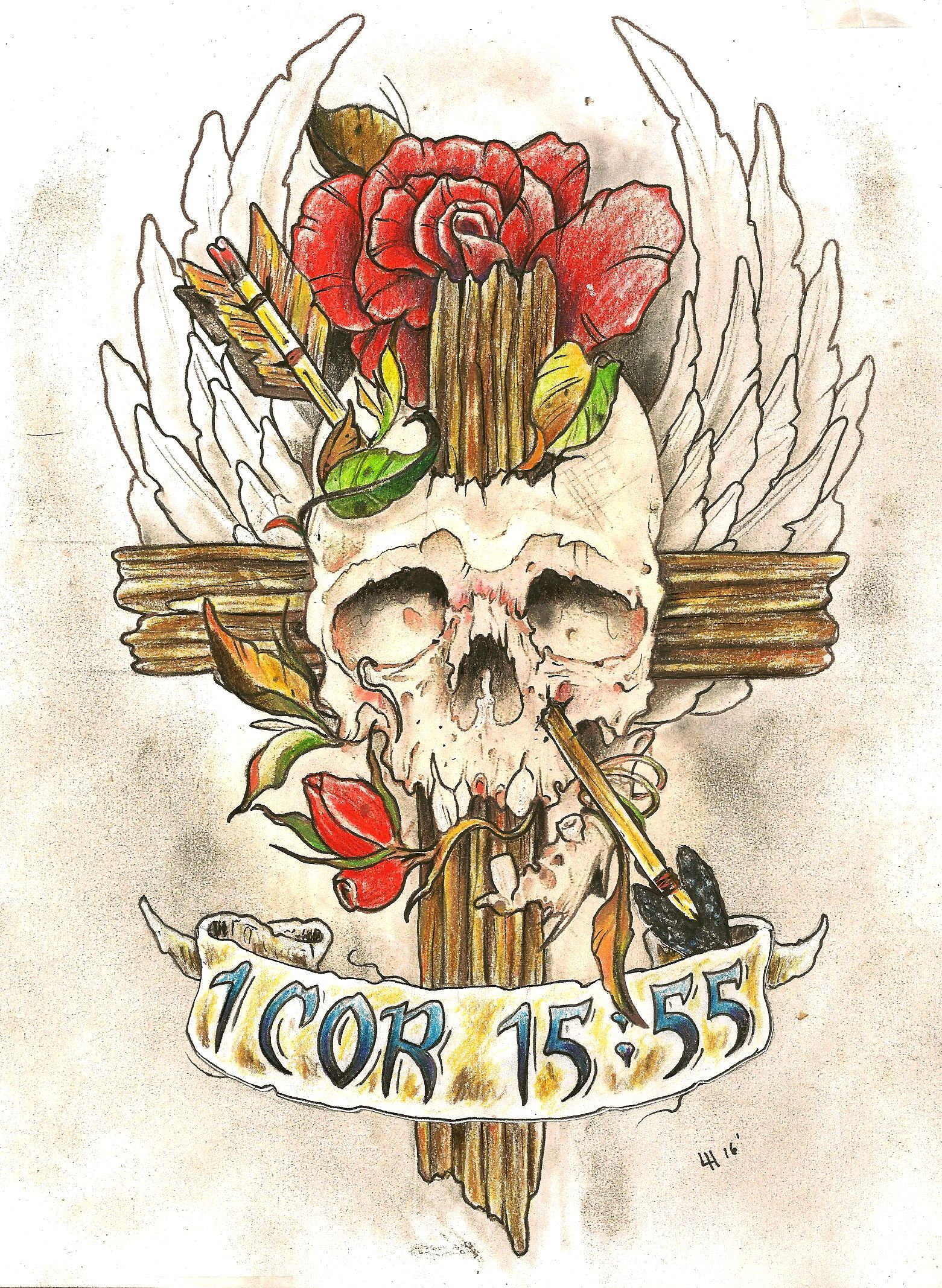 neo traditional skull cross arrow rose bible verse tattoo