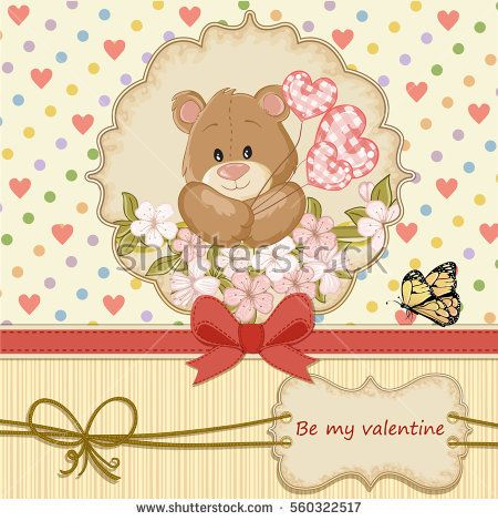 Vintage valentines day card with teddy bear in love and hearts vintage valentines day card with teddy bear in love and hearts background voltagebd Image collections