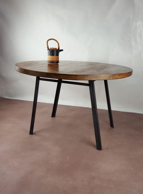 Konk Industrial Round Table Oak Steel Bespoke Sizes Rustic Vintage Chic Cafe Restaurant Circular Industrial Round Dining Table Table Round Dining Table