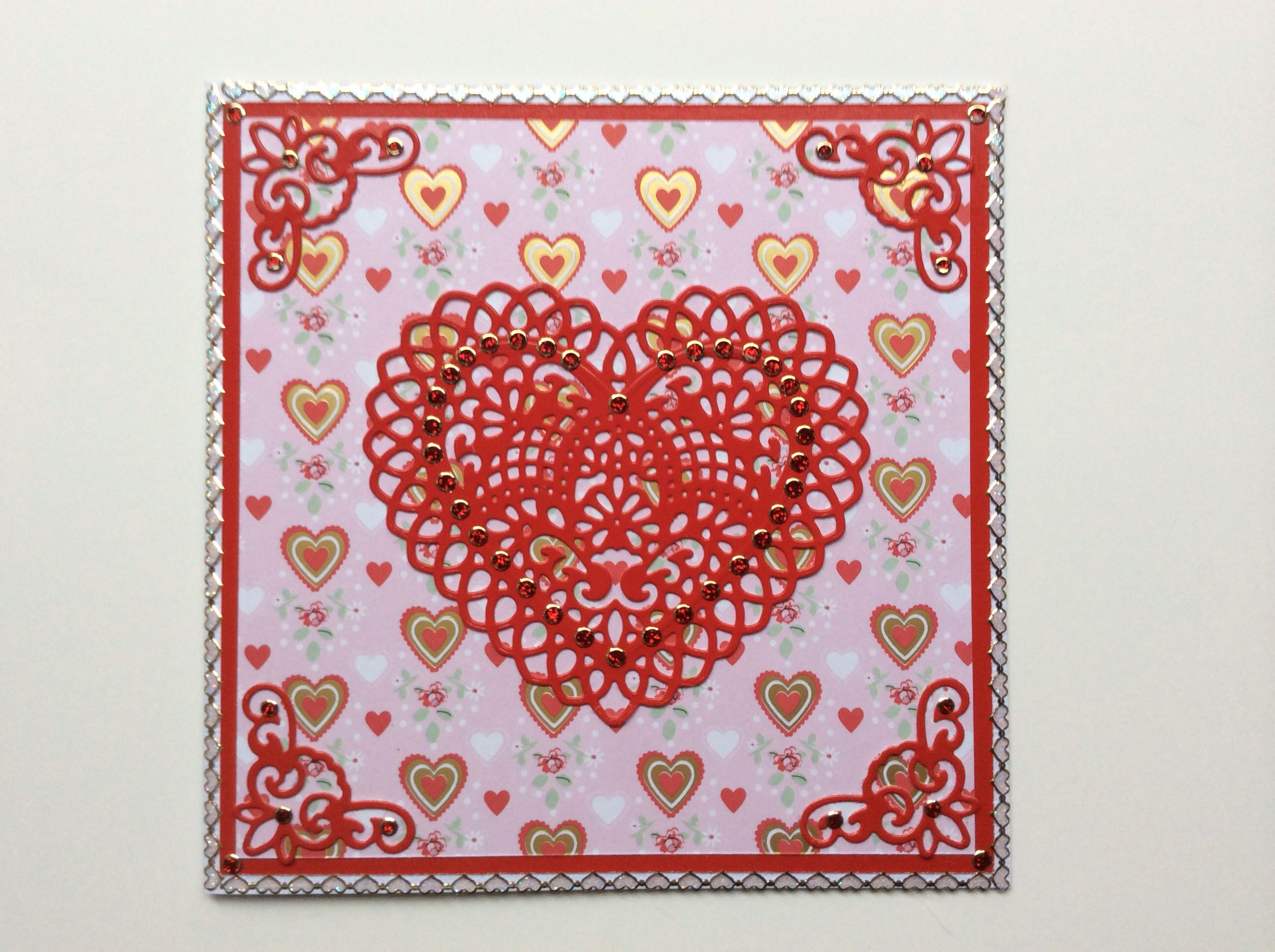 valentine card made with spellbinders lace hearts paper