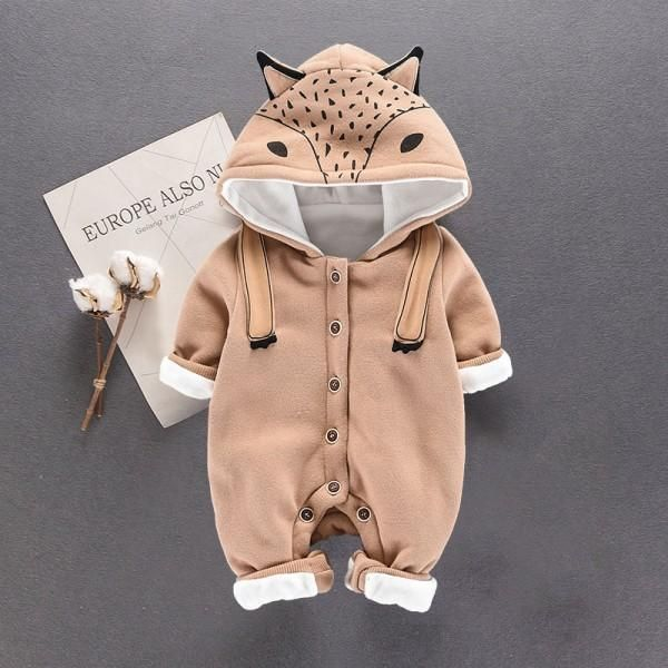 Adorable 3D Fox Hooded Long-sleeve Jumpsuit for Baby