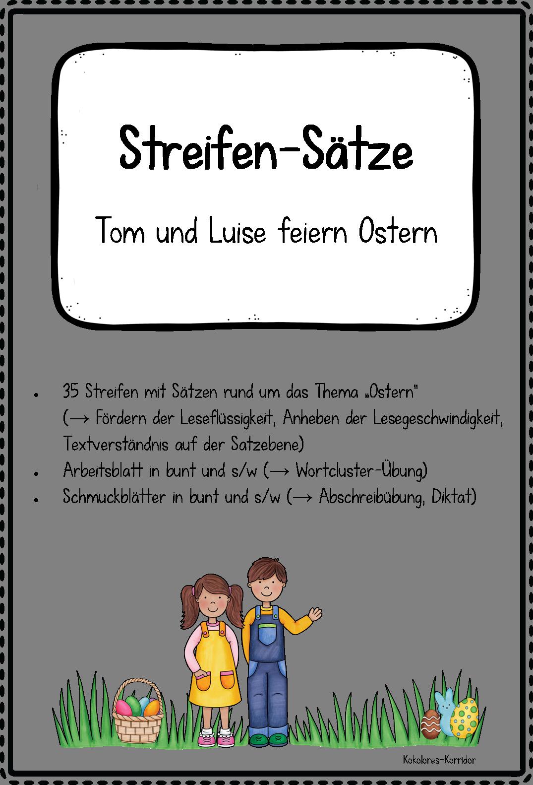 Streifen-Sätze: Tom und Luise feiern Ostern – Deutsch, Lehreralltag ...