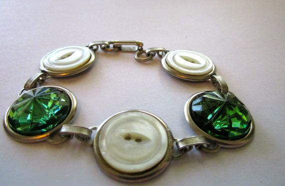 Antique button bracelet, green faceted glass & mother of pearl shell buttons