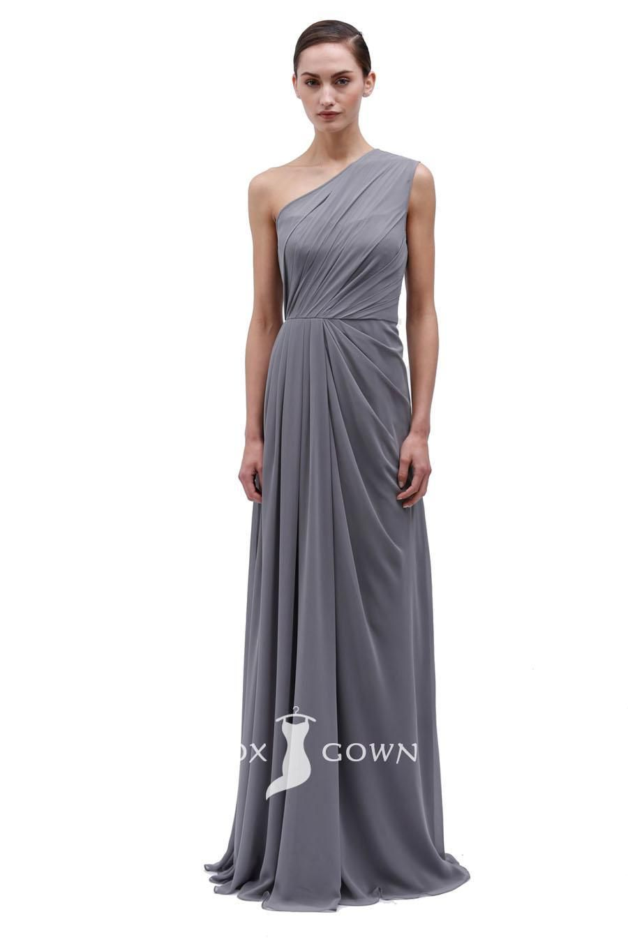Chiffon grey sleeveless one shoulder floor length bridesmaid dress chiffon grey sleeveless one shoulder floor length bridesmaid dress style idea ombrellifo Gallery