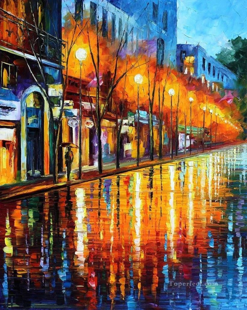 paris street impasto with palette knife Painting in Oil for Sale