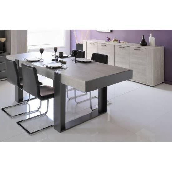 LOFT Salle à manger complète décor gris 2 pièces 1 table + 1 buffet