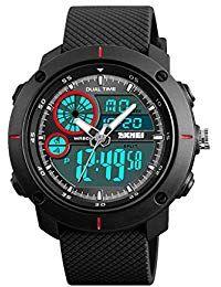 19bb9e5adb09 P Prettyia Reloj de Pulsera Movimiento de Cuarzo Analógico Digital  Impermeable para Hombres - Rojo Relojes
