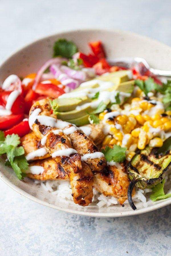 Grilled Chicken Burrito Bowls #grilledchickenparmesan