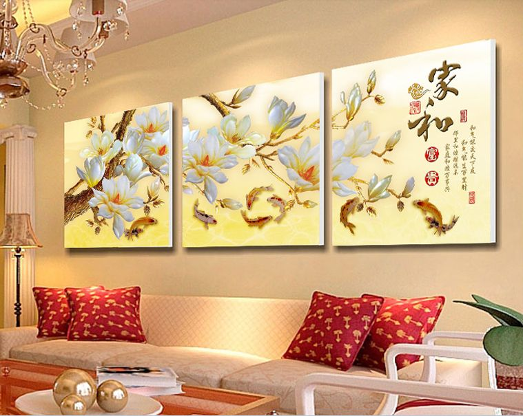 3 Piece Modern Wall Painting Home Decorative Art Picture Paint On Canvas Prints White Magnolia Flower Warm Home Wall Painting Modern Wall Paint Cheap Wall Art