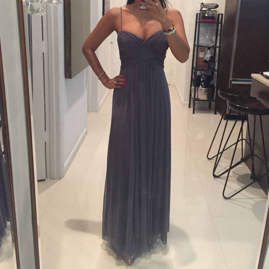 Grey spaghetti strap evening gown size grey and products