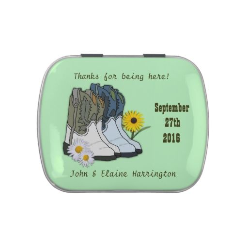 Western Boots Country Wedding Themed Candy Tin