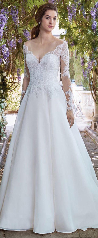 Alluring tulle u organza satin vneck neckline aline wedding dress