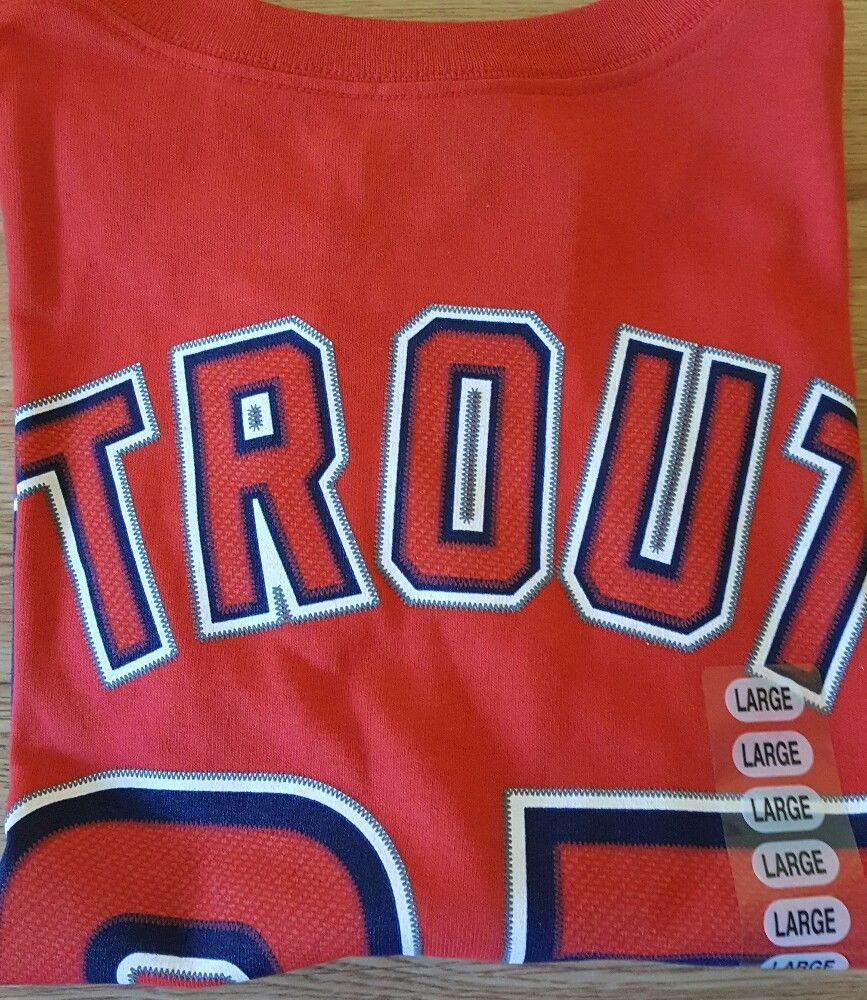 ebd80cc5a30 New Men Red Los Angeles Angels Mike Trout T Shirt Majestic Large Jersey Red  L…