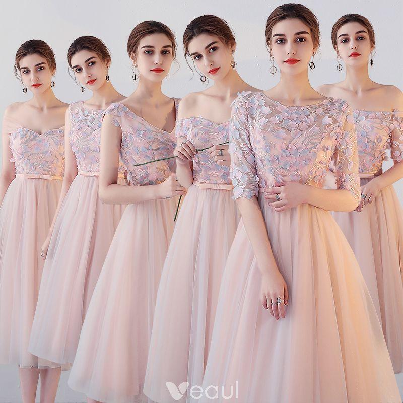 1167113b2 Hermoso Perla Rosada Vestidos De Damas De Honor 2018 A-Line   Princess  Apliques Flor Bowknot Cinturón Té De Longitud Ruffle Sin Espalda Vestidos  para bodas