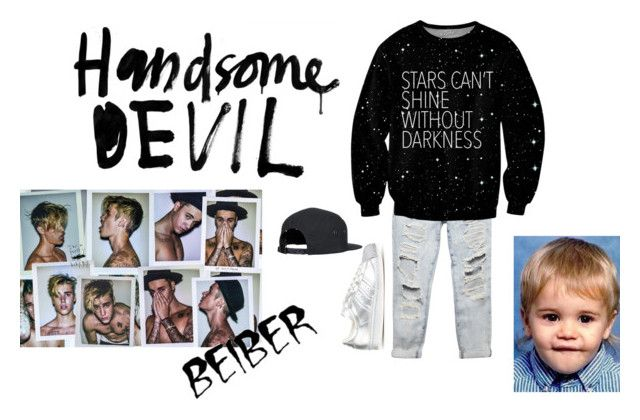 """""""stars can't shine without darkness"""" by janayasade ❤ liked on Polyvore featuring Justin Bieber, Wet Seal, adidas Originals and Burfitt"""