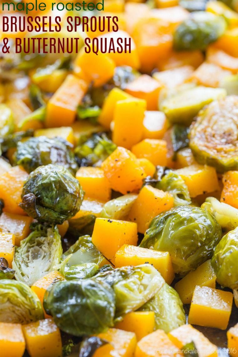 Maple Roasted Brussels Sprouts and Butternut Squash - an easy vegetable side dish recipe with only a few ingredients, but exploding with flavor, especially if you use the secret ingredient to make it even more delicious. This healthy veggie side is also gluten free, vegan, and paleo. via @cupcakekalechip