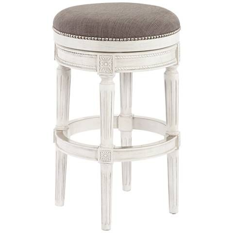 The Vintage Grey Finish Of This Traditional Backless Barstool Is
