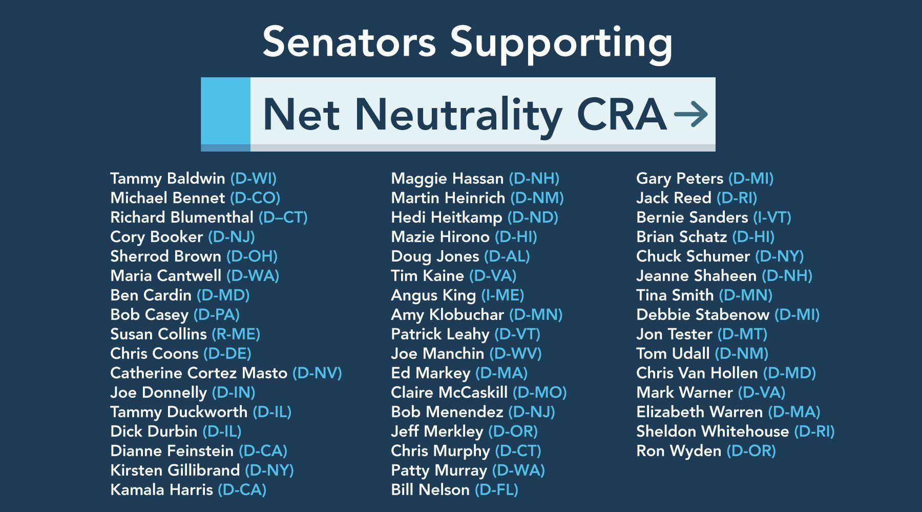 A List Of Senators Supporting Net Neutrality Net Neutrality